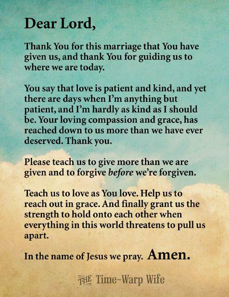Free Printable - Marriage Prayer (Time-Warp Wife - A Return