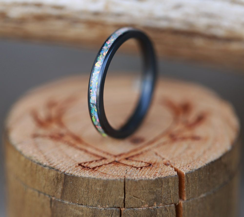 BLACK ZIRCONIUM STACKING BAND WITH FIRE ICE OPAL INLAY Available In Black Zirconium Silver Yellow White Or Rose Gold