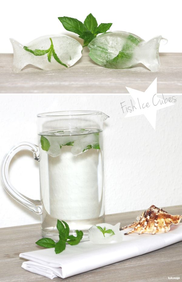 Fish Ice Cubes with Peppermint  http://kukuwaja.blogspot.de/2012/07/maritime-party-grosses-juli-candy.html