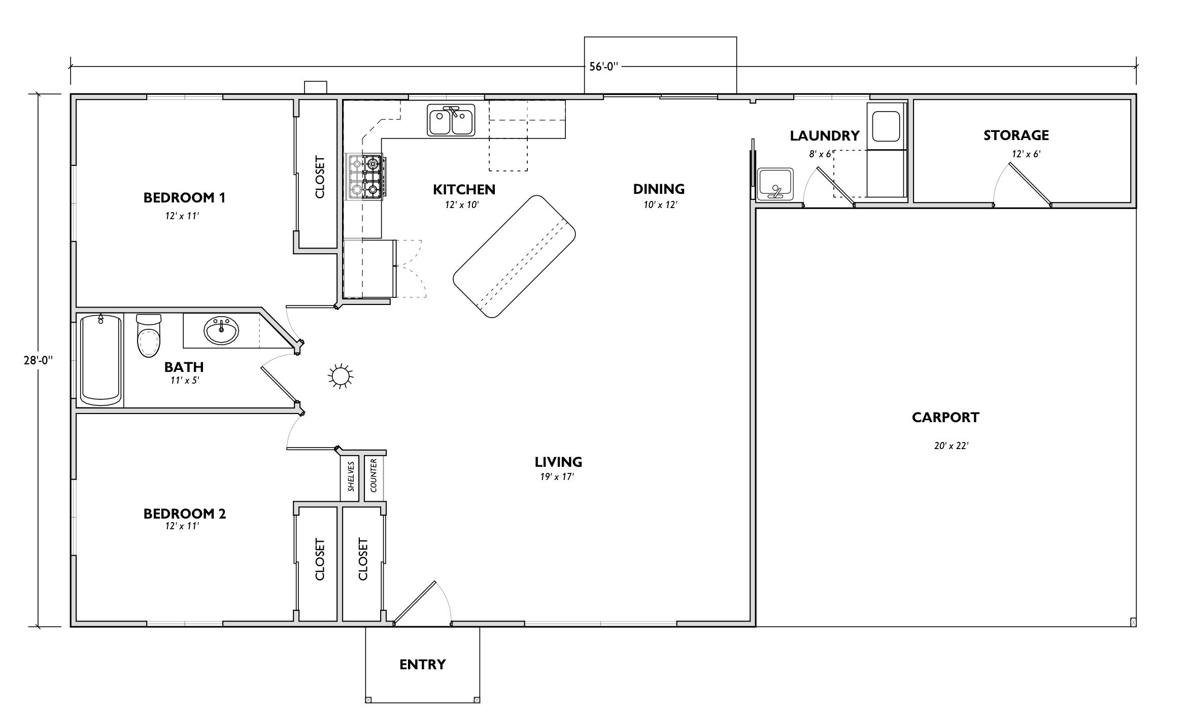 This spacious open floor plan has an entry counter (used