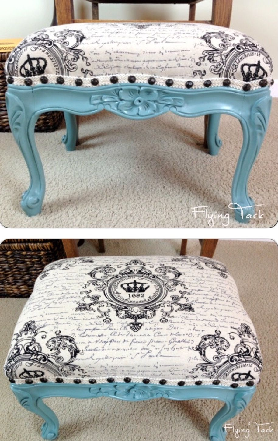 adorable painted french bench upholstered with french script fabric rh pinterest ru