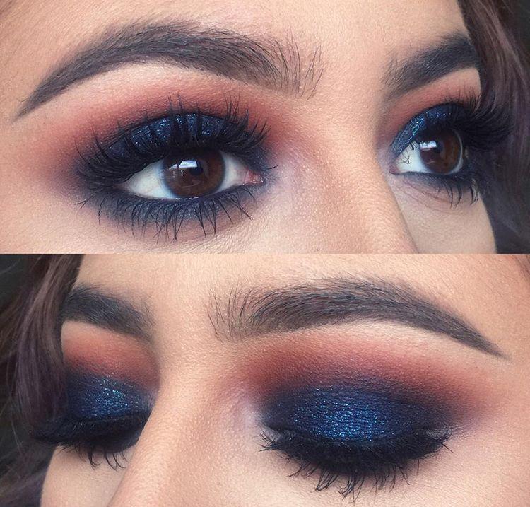 dark blue smokey eye | Makeup | Eye Makeup, Blue Eyeshadow ...  dark blue smoke...