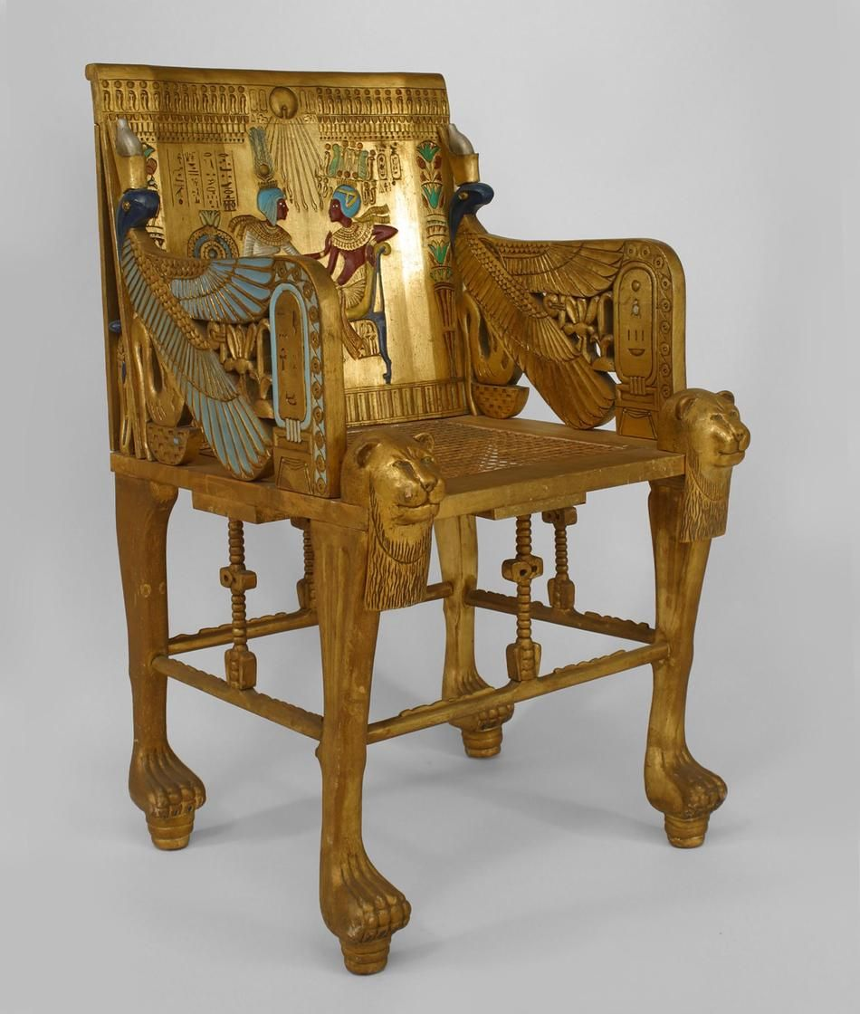 French Egyptian Revival Style (Early Cent) Carved Gilt Throne Style Arm  Chair With Cane Seat