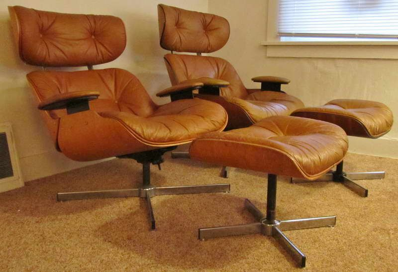 Replica Eames Lounge Chair Brown Carpet Floor With Young