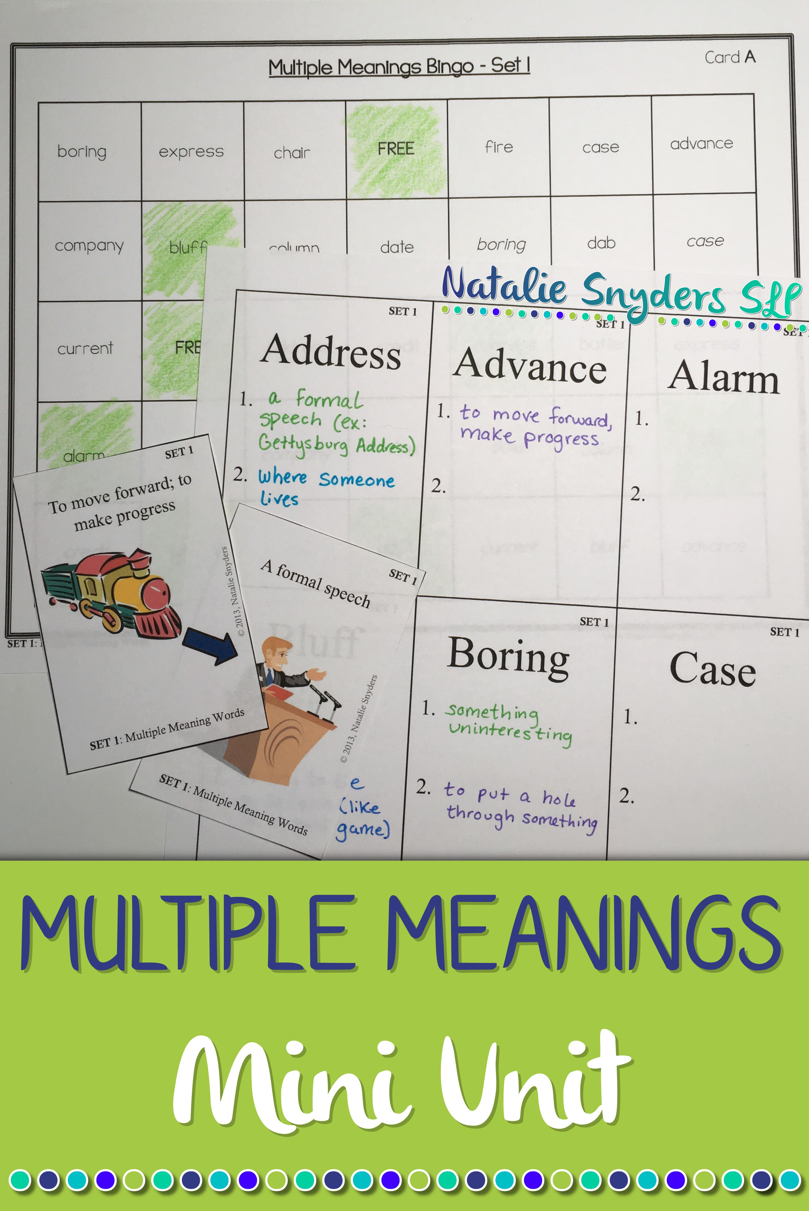 Multiple Meaning Words Mini Unit For Speech Language