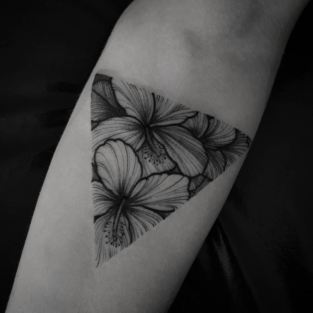 Hibisco Flower Triangle Tattoo Forearm Tattoo Women Hibiscus