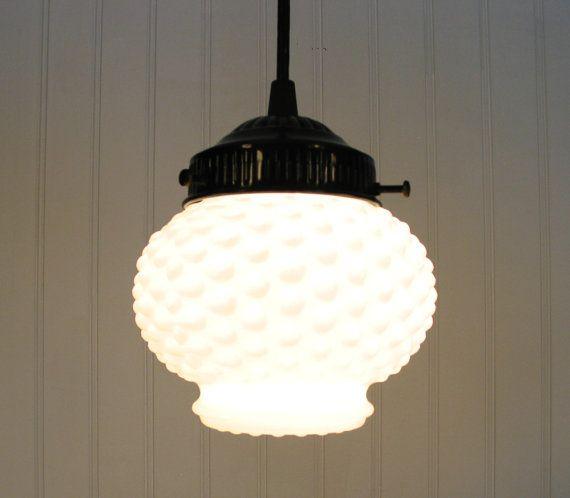 Vintage milkglass hobnail globe pendant light by lampgoods