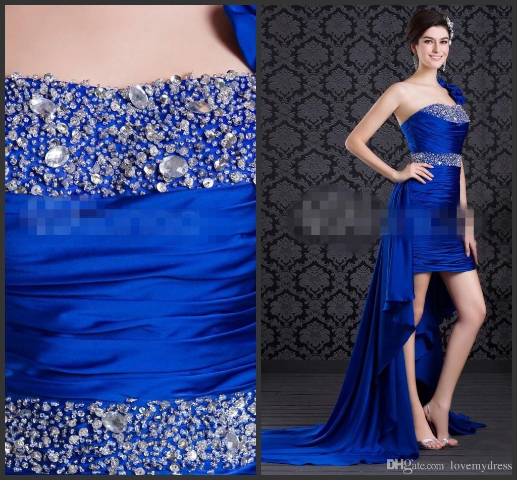 Hi lo prom dress blue one shoulder neck lace up back crystals