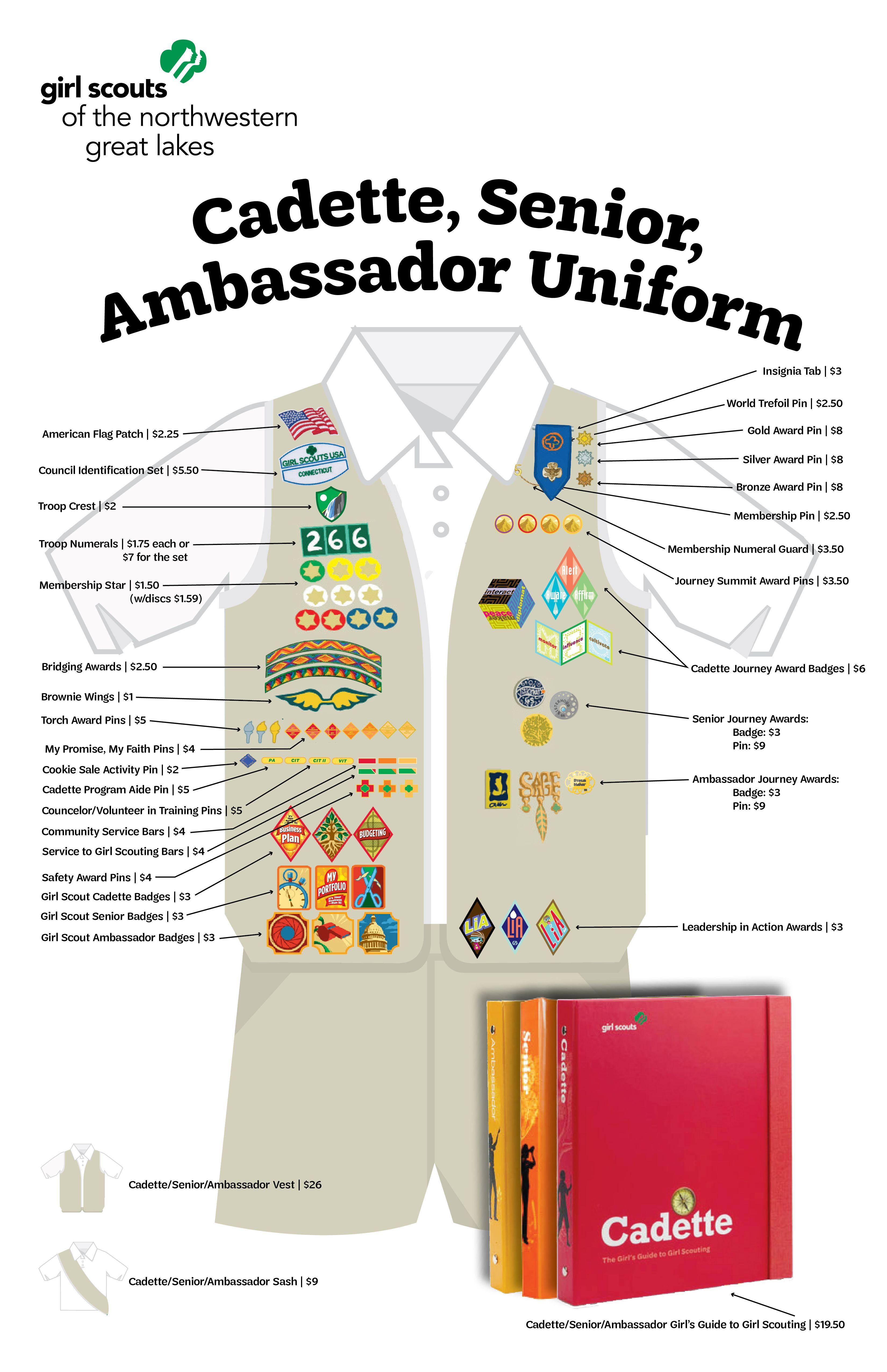 Cadette/Senior/Ambassador Uniform Guide | GSNWGL Price Sheet Girl Scout  Uniform, Girl