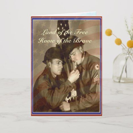 Vintage Veterans Day Land of the Free Thank You Card | Zazzle.com