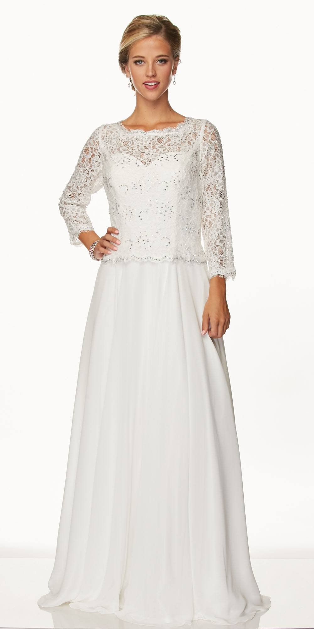 d5480874d72f9 Juliet 630 Off White Lace Top Chiffon Skirt Mother of Bride or Groom Dress