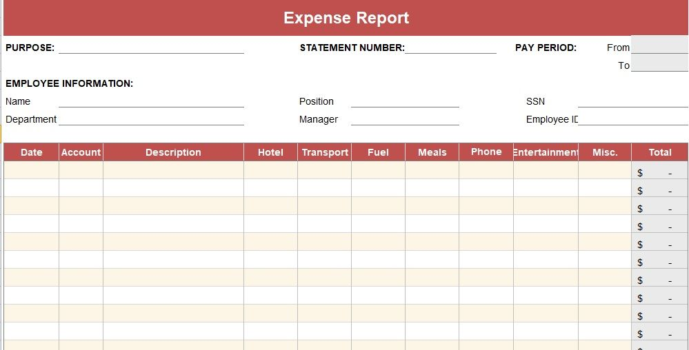 Expense Report Template Report Template Templates Monthly Expenses