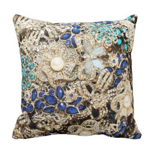 Diamond BlingBling BouquetBlue Teal Motif Throw Pillow Unique Bling Decorative Pillows