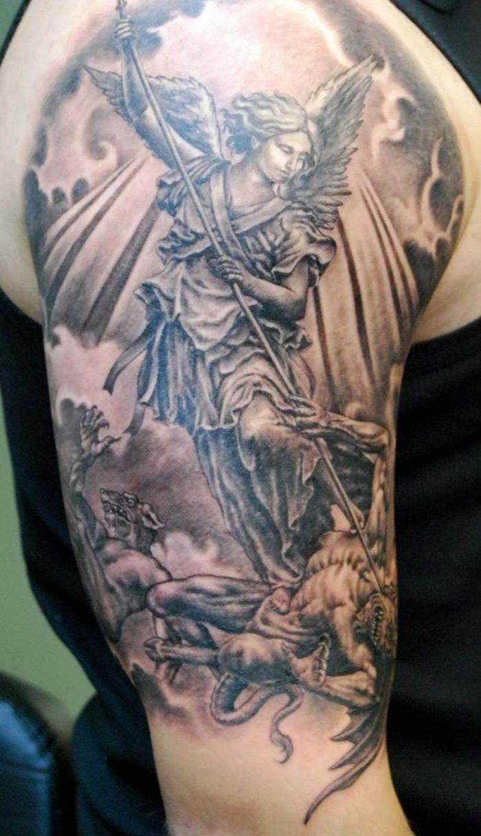 archangel sleeve tattoos google search future tats pinterest rh pinterest co uk angel gabriel tattoo significado archangel gabriel tattoo