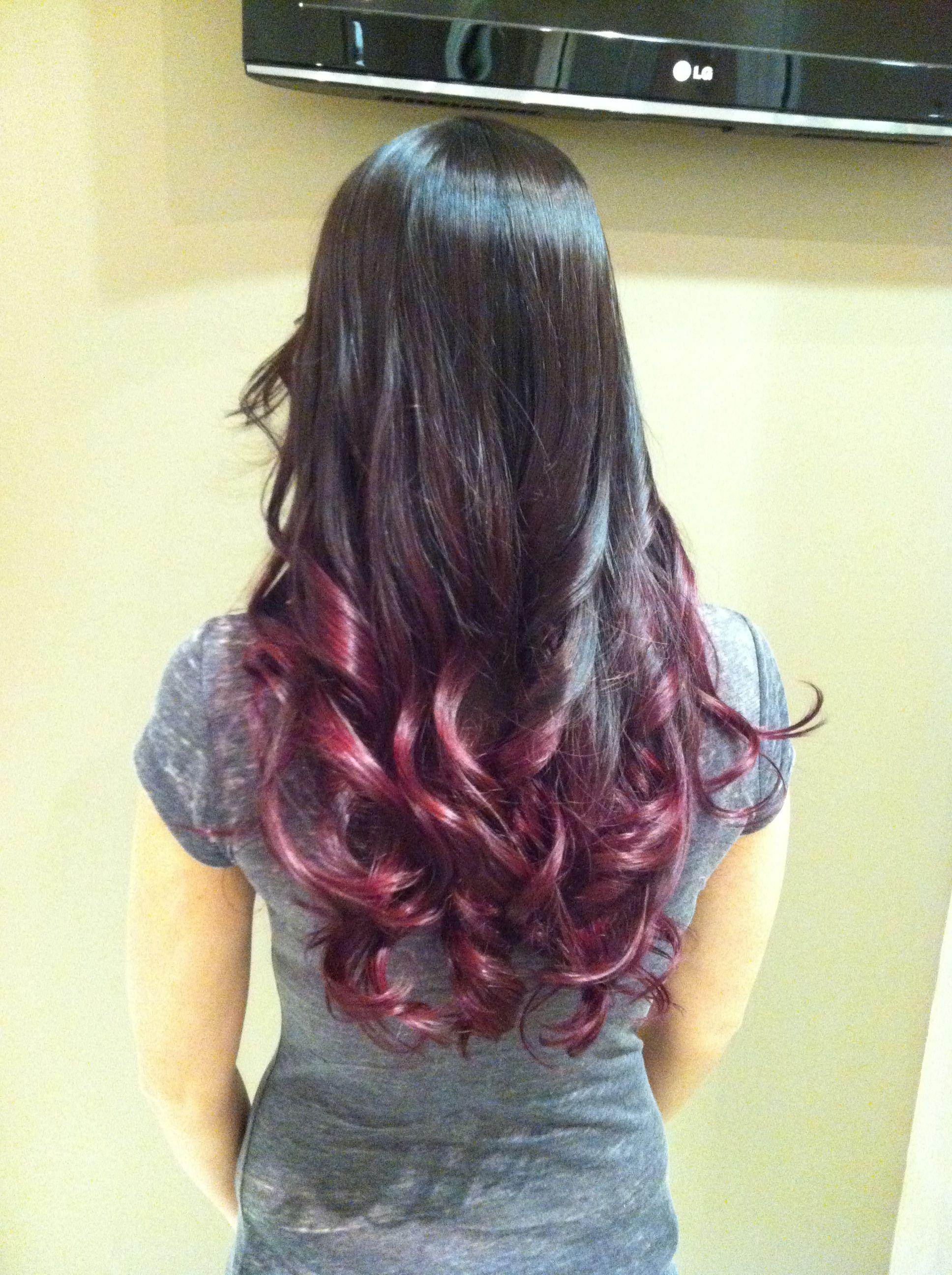 Dark brown burgundy ombre | Hair | Pinterest | Ombre, Dark ...