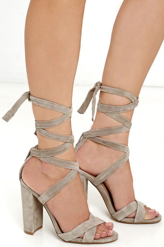 3ef553547d0 Steve Madden Christey Taupe Suede Leather Lace-Up Heels | My Closet ...