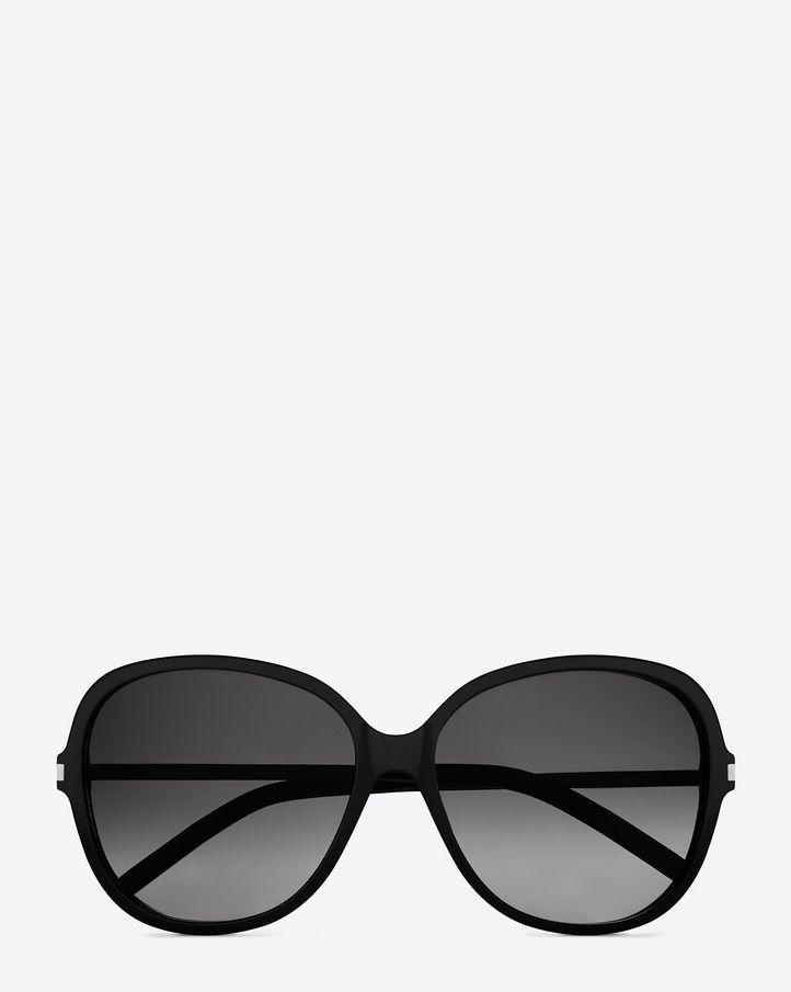 Saint Laurent Classic 23 Sunglasses In Matte Black Acetate