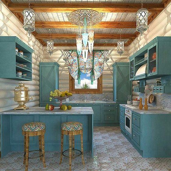 Armário de Cozinha com Banquetas com assento colorido e marcenaria azul   Revista Viva Decora. 204580 - Viva Decora