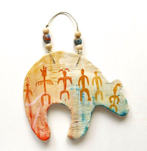 bear Zuni style clay southwest rock art petroglyphs shaman abstract ...