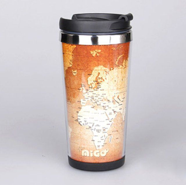 Creative World Map Stainless Cup on Luulla