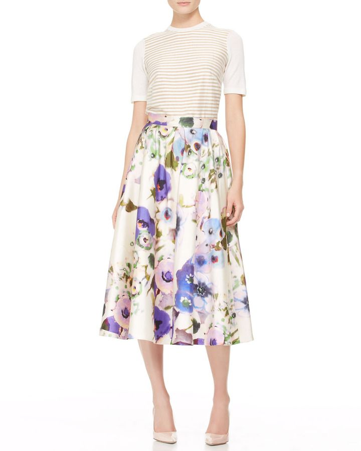 079e9eb4bae64 Lela Rose Full Floral Midi Skirt on shopstyle.com | fashion | Midi ...