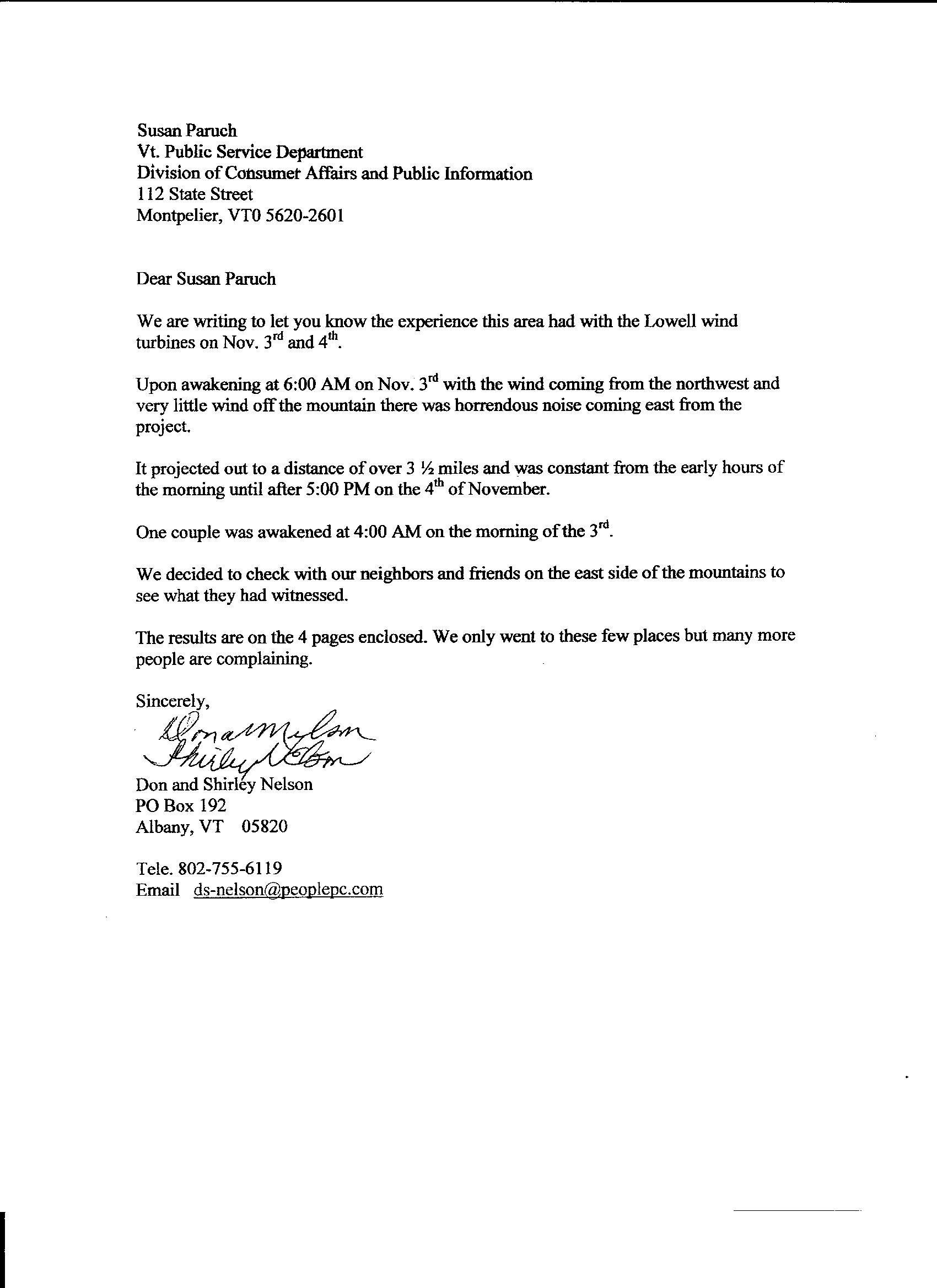 Noise Complaint Letter A