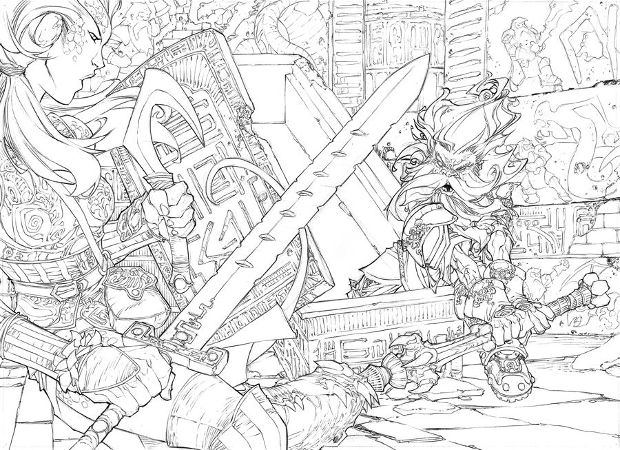 Penciled line art for Dungeon Magazine #142. From the art notes: We see a stone chamber in which rests a large rectangular sarcophagus. The walls of this chamber are lined with bronze panels that b...