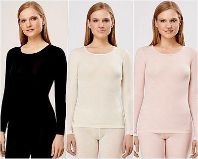 100% Merino Organic Wool UT UltraSoft Woman Longsleeve Shirt Base Layer 8436 NEW