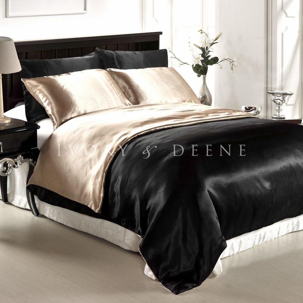 Luxury Black Champagne Latte Reversible Satin Doona Cover Bed