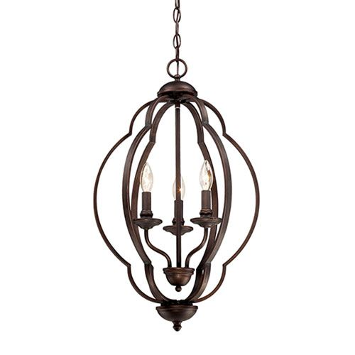 Camilla Rubbed Bronze Three Light Pendant With Light India Scavo Glass Other Pendant Ligh Bronze Candle Millennium Lighting Bronze Pendant Light