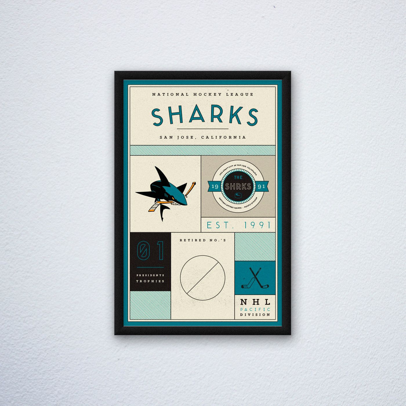 San Jose Sharks Stats Print par DesignsByEJB sur Etsy