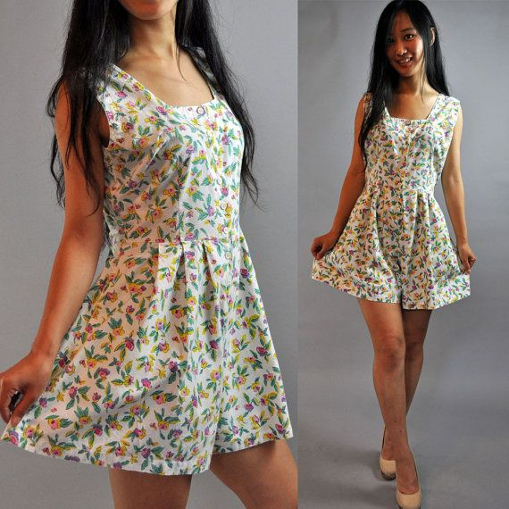 vintage 70s romper shorts womens romper floral cotton sleeveless
