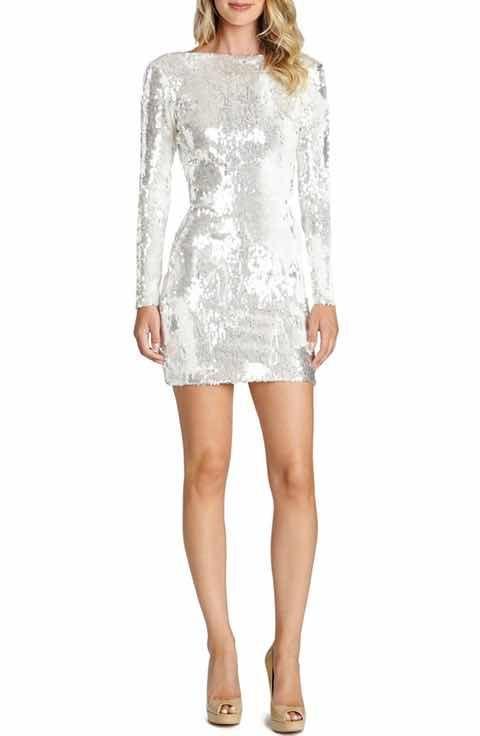 White sequin mini dress