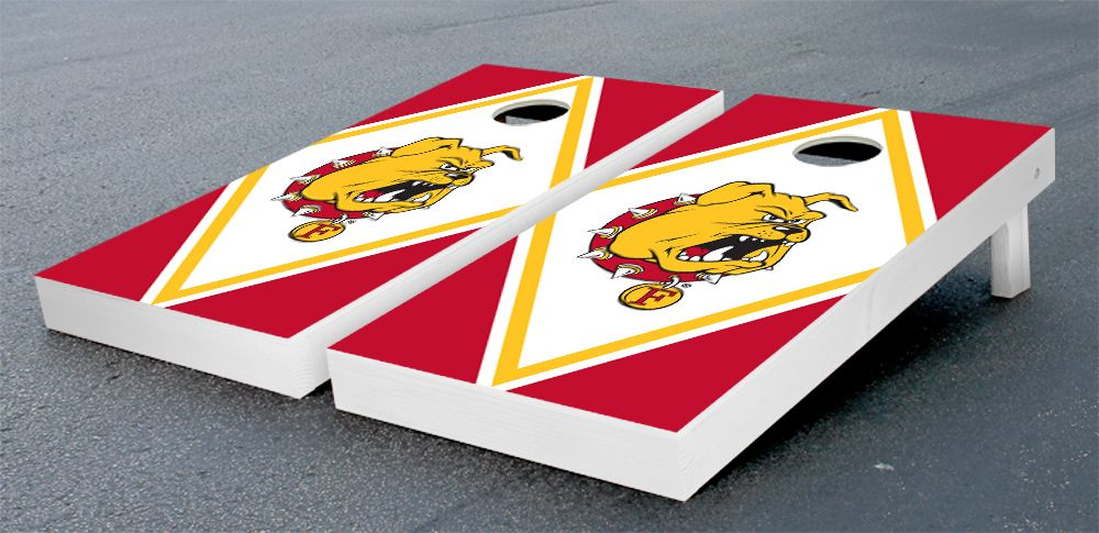 Our Ferris State University Bulldogs Cornhole Game Set Hand Painted Red and Yellwo Diamond Version. Get your custom set at victorytailgate.com