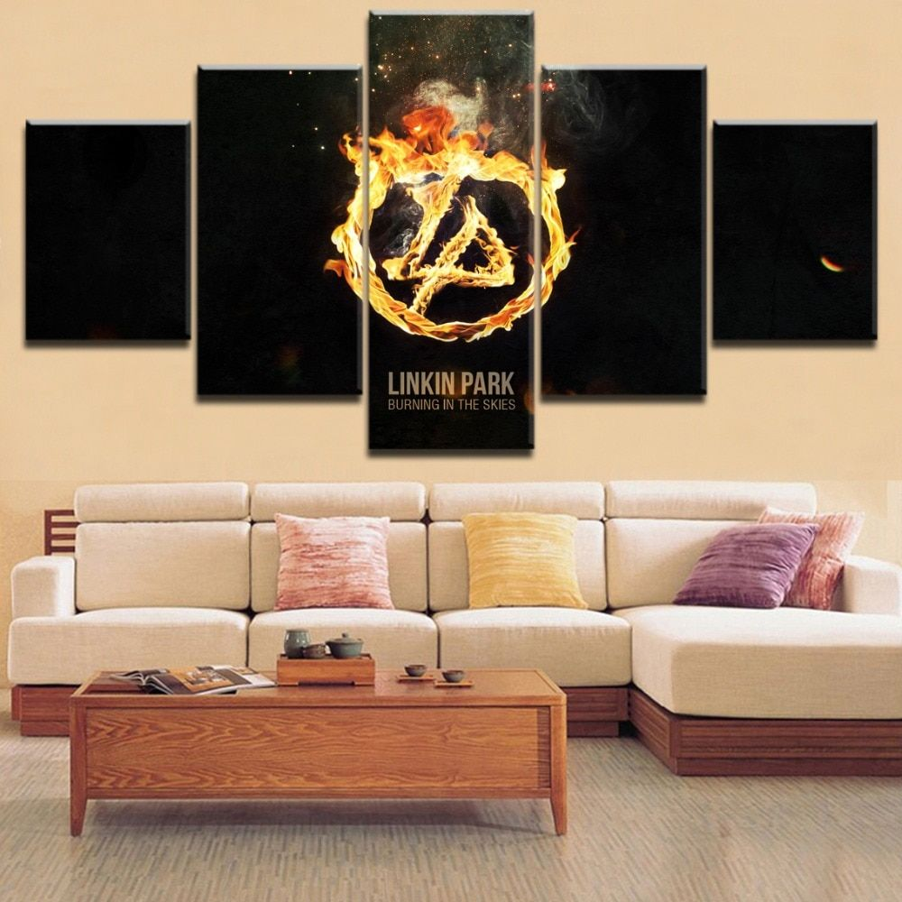 5 Pieces Canvas Printing Painting Music Linkin Park The Band Logo