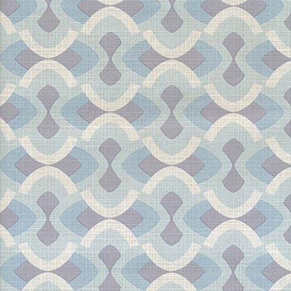 Original Mid Century Modern Blue Justintime Geometric