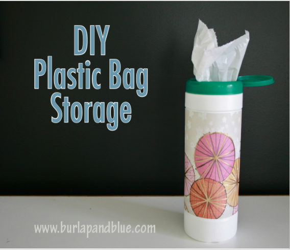 diy plastic bag storage using an old wipes container