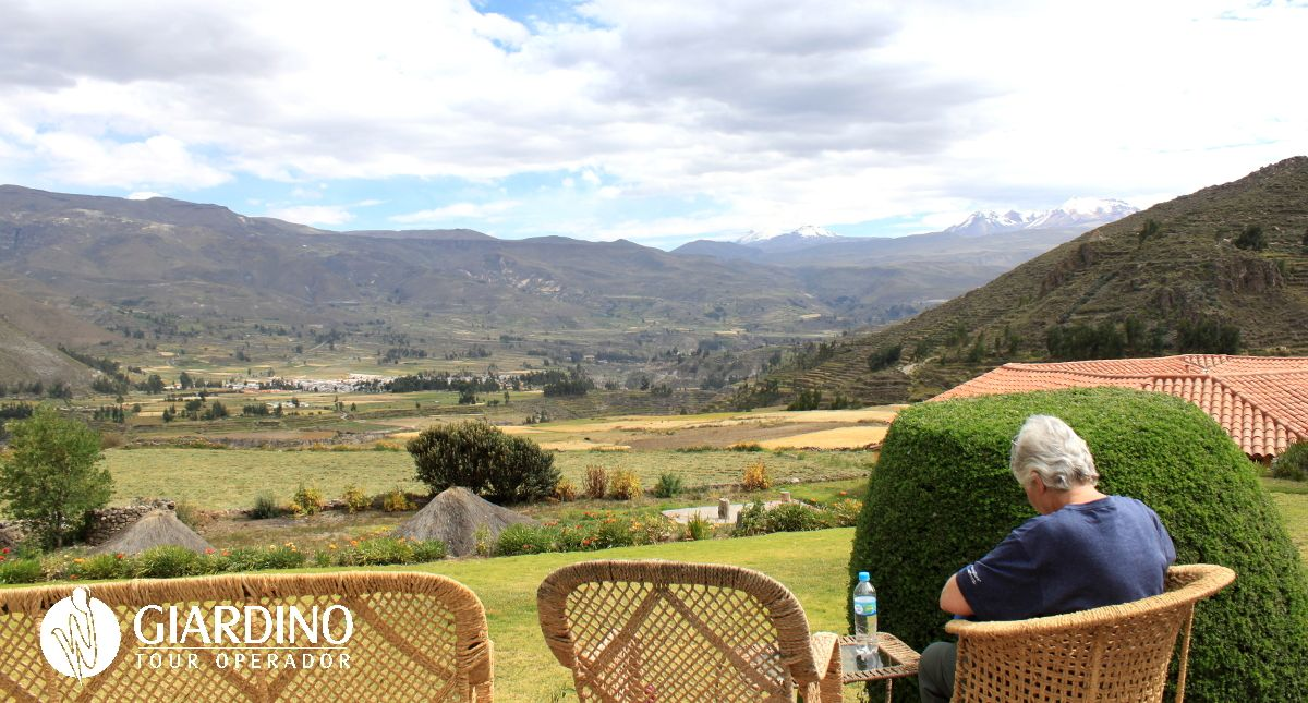 Resting after an interesting walk around town of Coporaque - Colca canyon! With such a  view!
