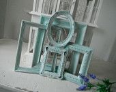 OOAK picture frames shabby chic nursery decor seafoam green antiqued distressed open frames open frame set photo frames French country