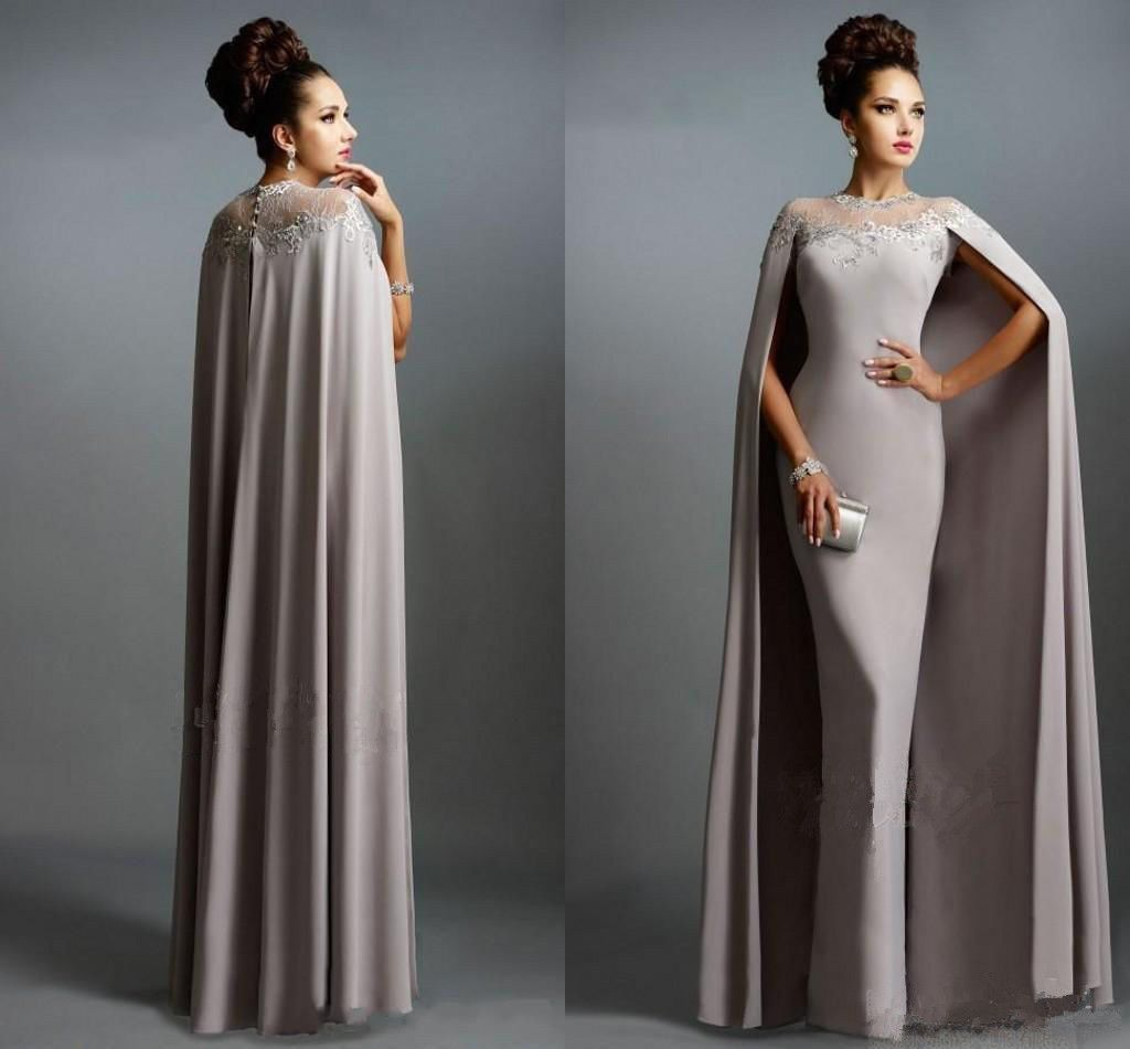 Cool amazing fashion long mother of bride dress with cape muslim