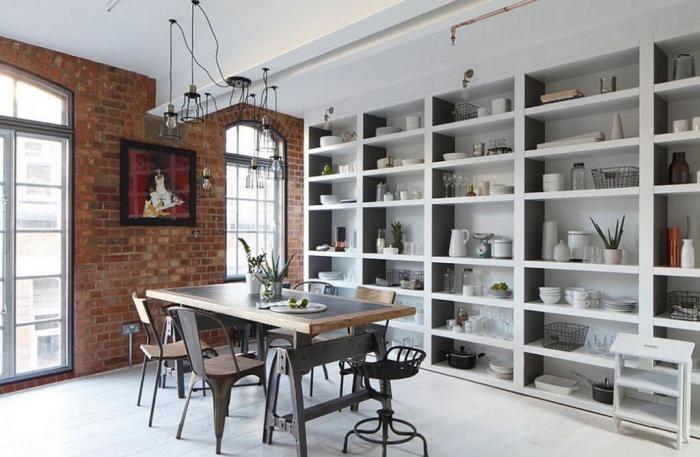 dco style industriel salle manger industrielle avec grande bibliothque murale