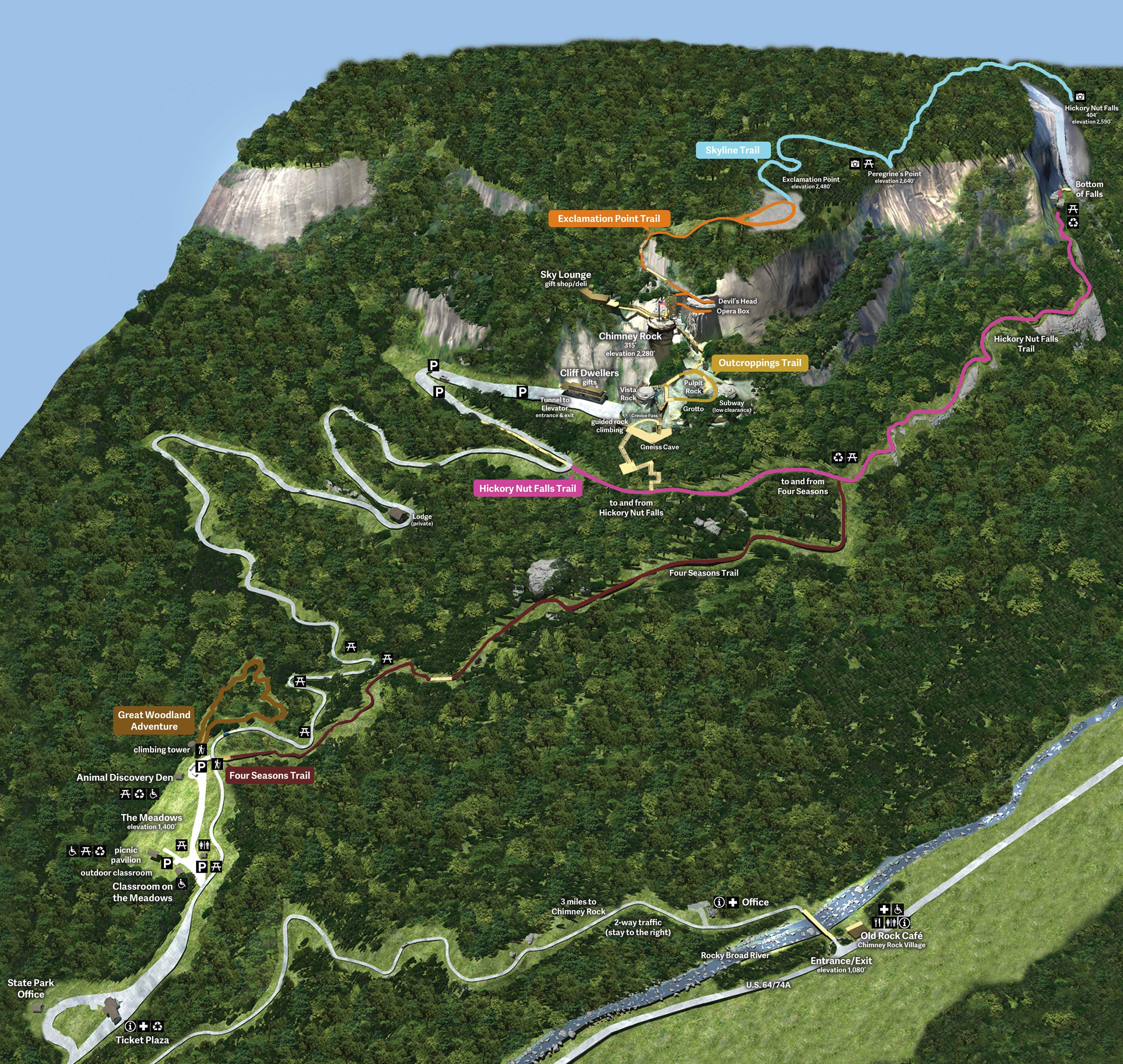 State Park Nc Map.Last Of The Mohicans Waterfall Hickory Nut Falls Trail Map Chimney