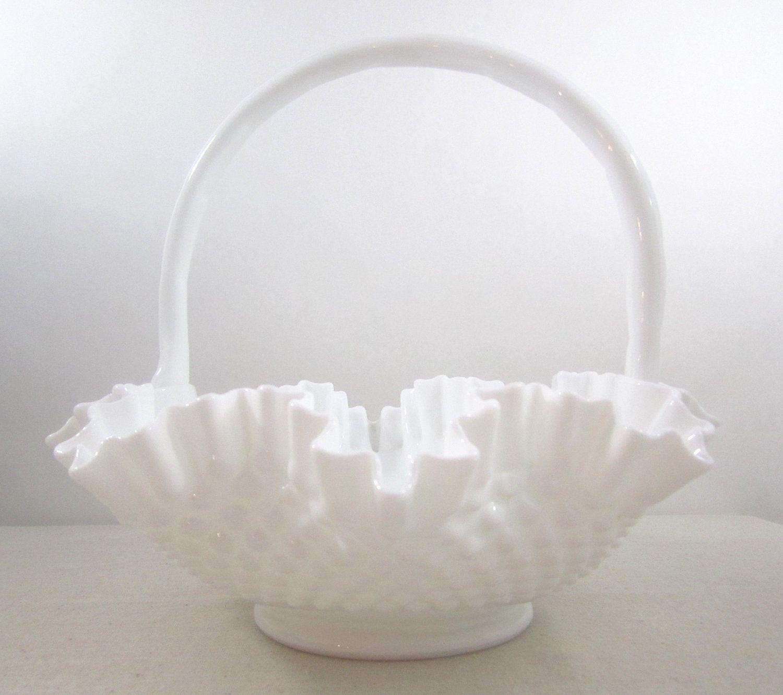 Milk Glass Large Vintage Fenton Milk Glass Basket Hobnail Pattern Circa 1960 Fenton Milk Glass Milk Glass Glass