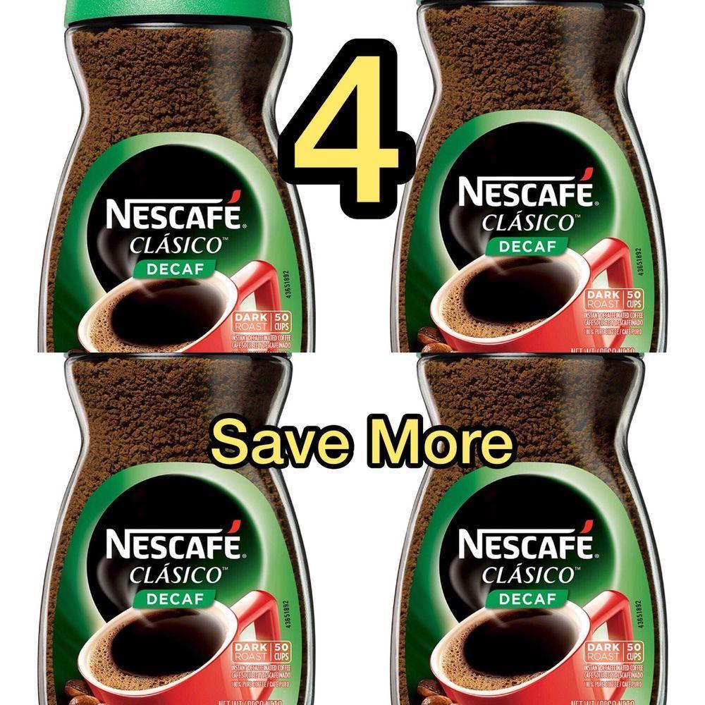 4 Jars Of Nescafe Clasico Decaf Instant Coffee, 3.5 oz