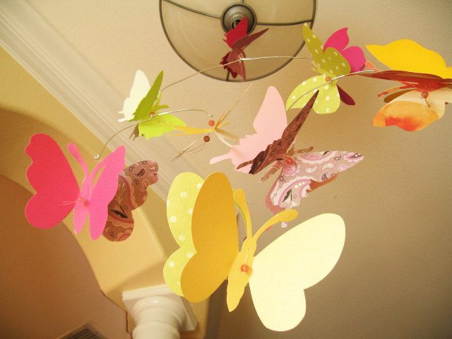Butterfly Mobile, Paper, Art, Hanging, 3D, Nursery, Baby, Wedding ...