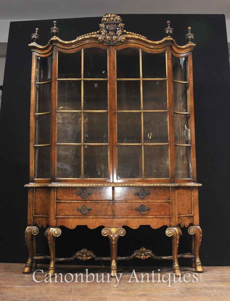 Antique Walnut Display China Cabinet Libertys of London Bookcase ...