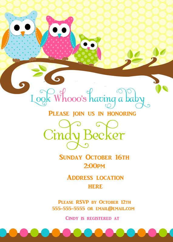 Owl Baby Shower Invitation, thank-you card \ place cards Baby - Free Baby Invitation Templates