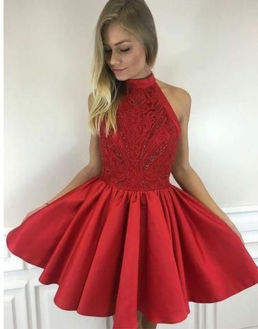 Cute red A line high neck short prom dress, homecoming dress