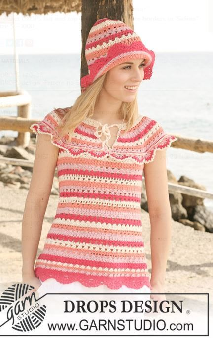 Crochet Hat and Top with Stripes