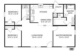 Floor Plan 3 Bedroom 2 Bath 44x28 Google Search Home Plans
